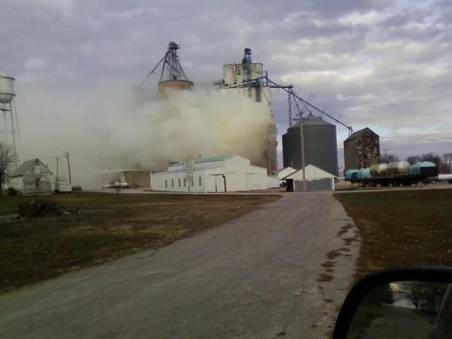 This photo showing the aftermath of a grain dryer explosion at the Boxholm elevator was uploaded to KCCI by u local contributor hmuench.