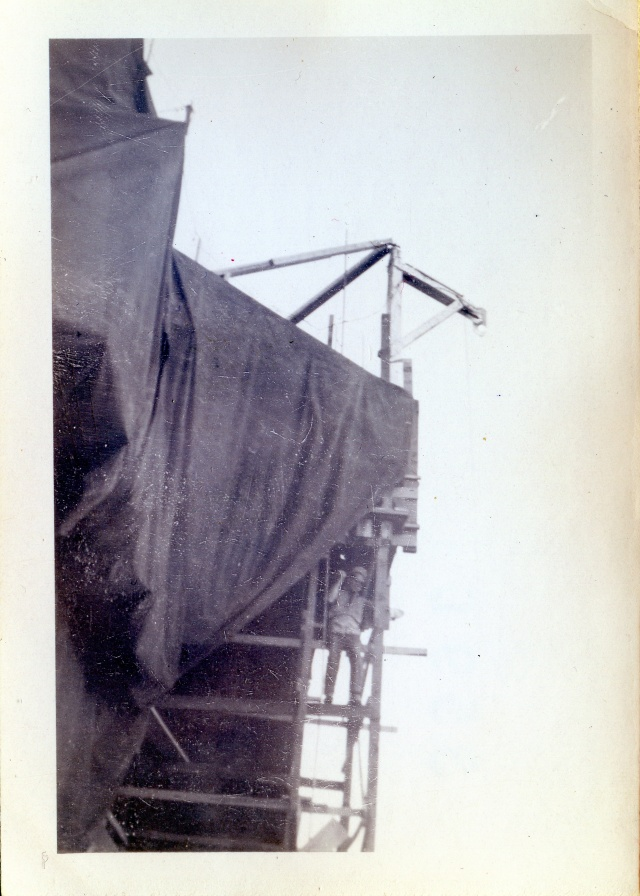 This photo, provided by Kristen Cart from Osborn family archives, shows a deckhand standing nonchalantly on elevator formwork. Kristen believes the picture may have been taken in Giddings, Texas, in 1945.