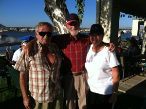 From left, Tim Tillotson, Chuck Tillotson, and La Rose Tillotson Hunt, posing in June 2012 in Victorville, California.