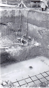 The excavation for the foundation began with dynamite.