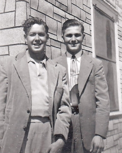 Neil A. Lieb, left, and Blaine Bell worked on the Alta, Iowa, elevator in 1950.