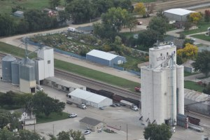 An aerial view of Utica, Neb. With the round headhouse, Brad Perry thinks it looks like it could be a Tillotson elevator.