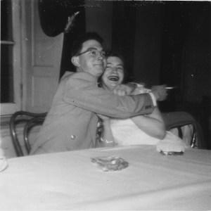 Johnny Hassman and Virginia Slusher celebrate her business school graduation. Photo from the Virginia Slusher archive.