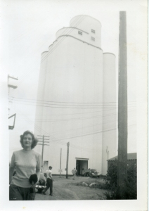 Mayer-Osborn elevator at McCook, Neb. during a family visit, ca 1950. This elevator was the first of its type, a model for the later Blencoe elevator.