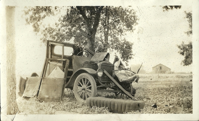 This image was found among Grandma's pictures. It was the car her uncle wrecked in an ultimately fatal accident.
