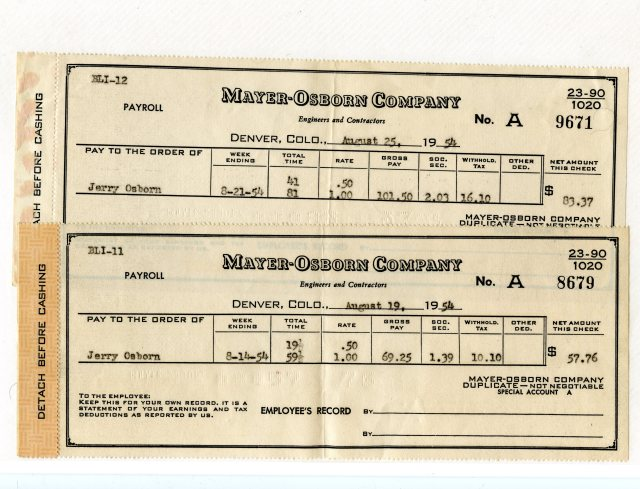 Mayer-Osborn pay stubs from August, 1954