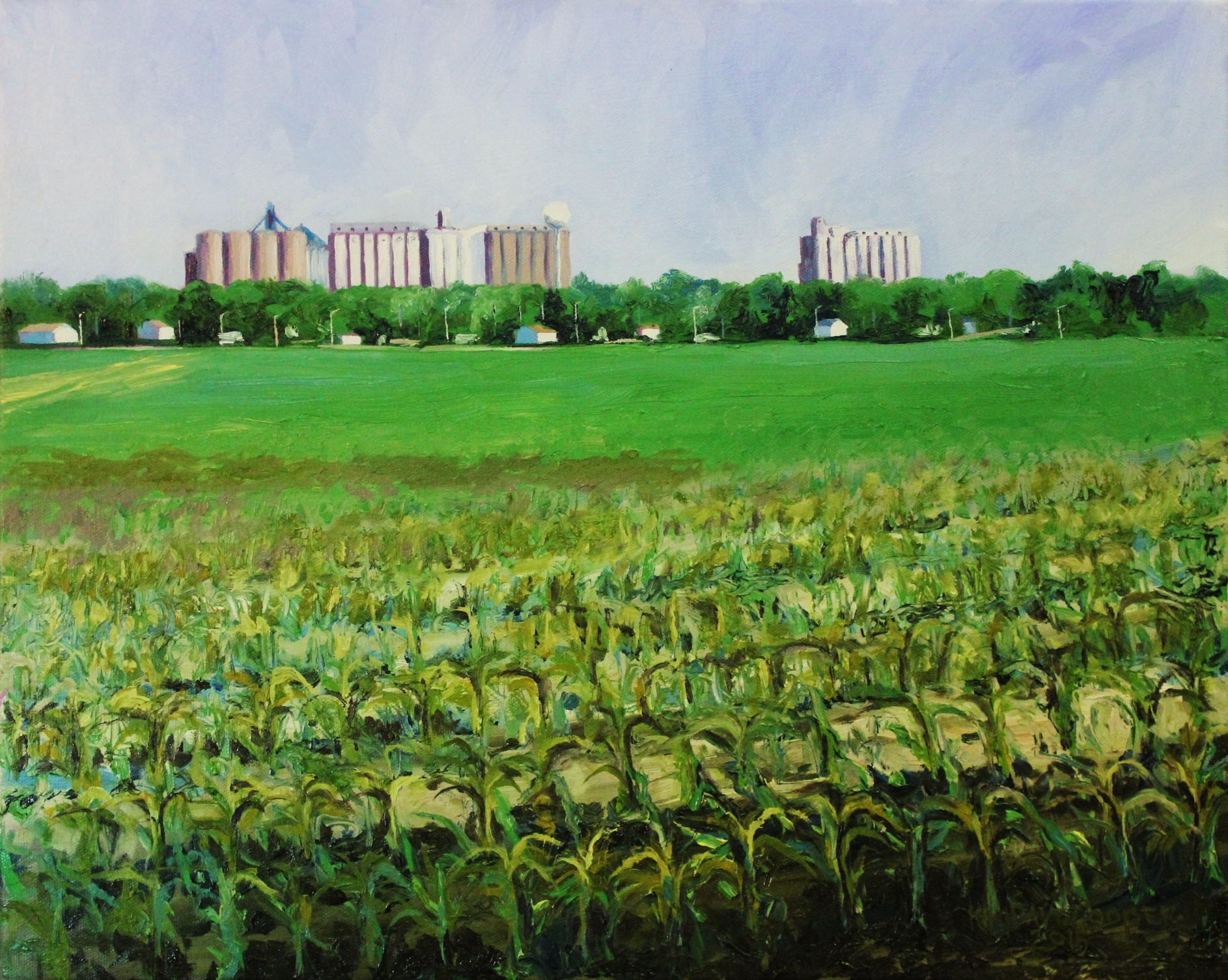 Corn and Cathedrals, 16x20, oil on canvas, Plein Air, 2015, Kim David Cooper