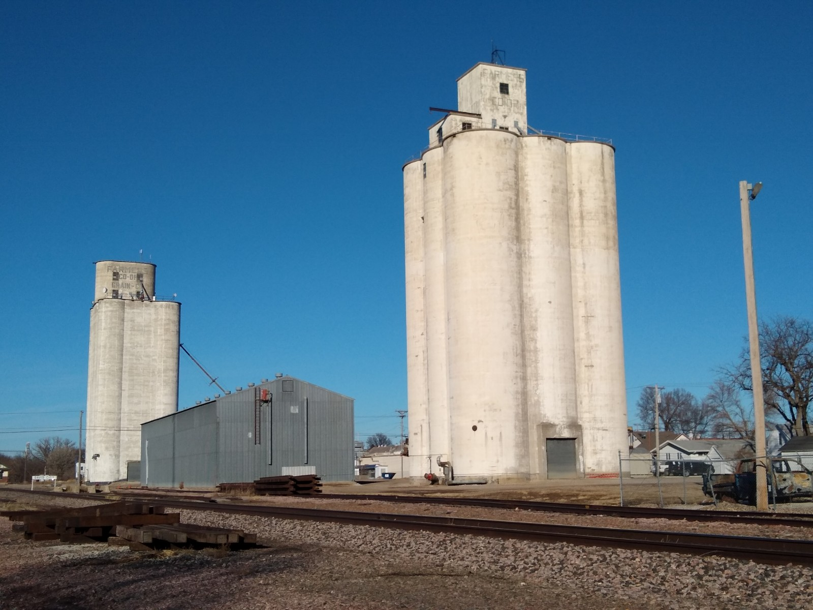 View of David City grain elevators
