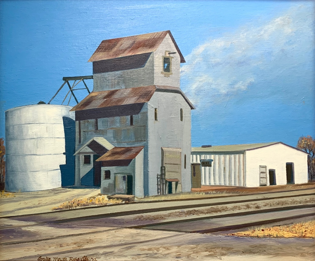 "Louise Bereuter, ""North Bend Elevator,"" oil and canvas on board."