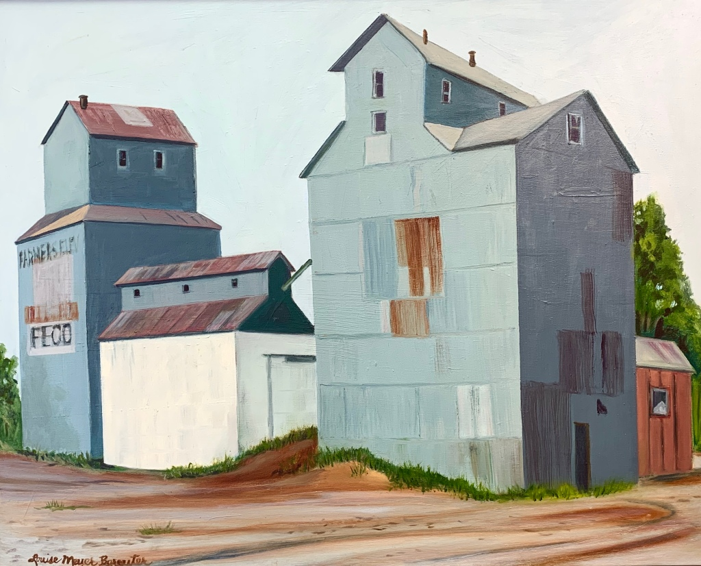 "Louise Bereuter, ""Tekamah Elevator,"" oil and canvas on board."